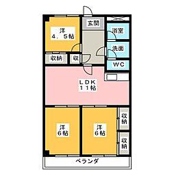 三栄ハイツ[4階]の間取り