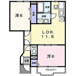 サンライズ渋沢I[102号室]の間取り