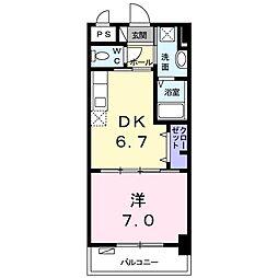 ピュアフォレストII 2階1DKの間取り