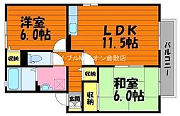 岡山県倉敷市西富井の賃貸アパートの間取り