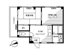 JR山手線 駒込駅 徒歩8分の賃貸マンション 2階2DKの間取り