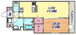 シェリール六甲道 3階1LDKの間取り