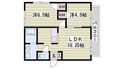 JR播但線 寺前駅 徒歩9分の賃貸アパート 1階2LDKの間取り