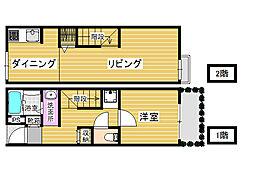 福岡県福岡市早良区内野6丁目の賃貸アパートの間取り