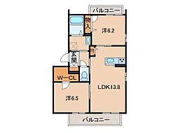和歌山県和歌山市秋月の賃貸マンションの間取り