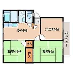 奈良県大和郡山市西岡町の賃貸アパートの間取り