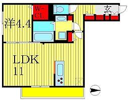 セジュール柏の葉 3階1LDKの間取り