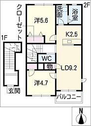 ソレイユ二重堀A棟[2階]の間取り