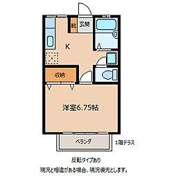下田ハイツ北方[2階]の間取り