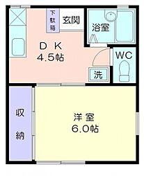 神奈川県横浜市港南区日野2丁目の賃貸アパートの間取り