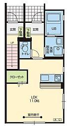 JR奥羽本線 山形駅 中桜田下車 徒歩9分の賃貸アパート 1階ワンルームの間取り