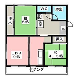 マンション中郷[4階]の間取り