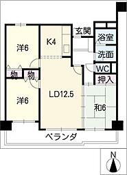 シャトー桜井302号[3階]の間取り