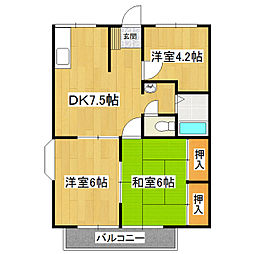 茨城県つくば市春日2丁目の賃貸アパートの間取り