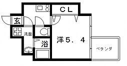 アドバンス上町台プレジール 13階1Kの間取り