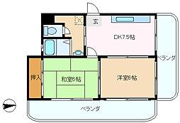 兵庫県神戸市垂水区川原5丁目の賃貸マンションの間取り