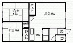 北海道札幌市南区川沿四条3丁目の賃貸アパートの間取り