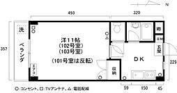 徳島県徳島市中常三島町1丁目の賃貸マンションの間取り
