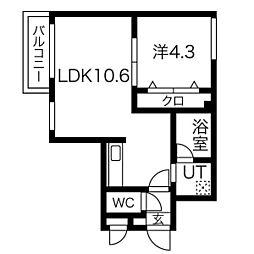 札幌市営南北線 北18条駅 徒歩9分の賃貸マンション 3階1LDKの間取り