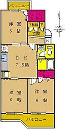 東京都町田市南つくし野1丁目の賃貸マンションの間取り