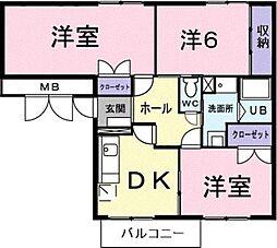 和歌山県御坊市薗の賃貸アパートの間取り