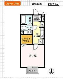 群馬県太田市東矢島町の賃貸アパートの間取り