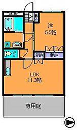 近鉄奈良線 東生駒駅 徒歩15分の賃貸マンション 1階1LDKの間取り