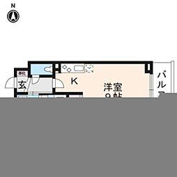 JR山陰本線 丹波口駅 徒歩10分の賃貸マンション 6階ワンルームの間取り