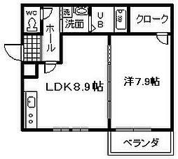 JR阪和線 久米田駅 徒歩11分の賃貸アパート 3階1LDKの間取り