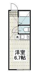 ユナイト羽沢カンペリオ 1階ワンルームの間取り