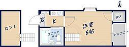 オーナーズマンション瓢箪山 1階1Kの間取り