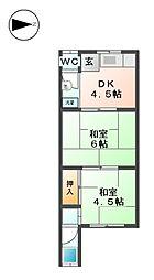 第2若草荘[2階]の間取り