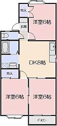 岡山県岡山市南区浜野2丁目の賃貸アパートの間取り