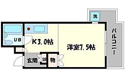 京阪本線 滝井駅 徒歩7分の賃貸マンション 3階1Kの間取り