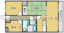 大阪府茨木市郡山2丁目の賃貸マンションの間取り