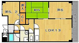 大阪府茨木市真砂3丁目の賃貸マンションの間取り