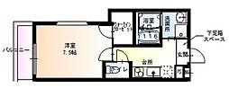 フジパレス東園田ノース 1階1Kの間取り