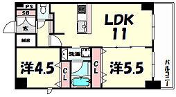 プレサンス三宮ポルト[14階]の間取り