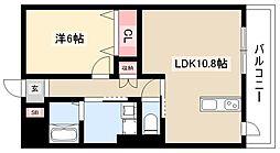 ディアコートK VII 6階1LDKの間取り