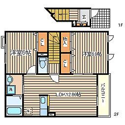 兵庫県神戸市須磨区一ノ谷町2丁目の賃貸アパートの間取り