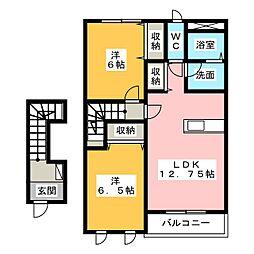 愛知県名古屋市中川区服部1丁目の賃貸アパートの間取り