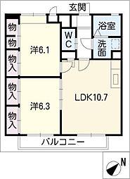 アムール上野台II[2階]の間取り