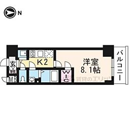 JR東海道・山陽本線 西大路駅 徒歩13分の賃貸マンション 4階1Kの間取り