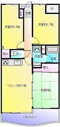 ライオンズマンション八尾[102号室]の間取り