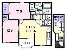 香川県丸亀市飯野町西分の賃貸アパートの間取り