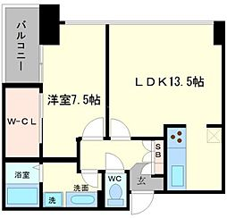 アステリオ北堀江ザ・メトロタワー 20階1LDKの間取り