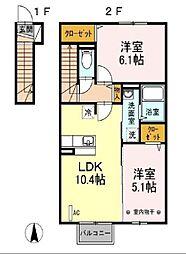 福島県郡山市日和田町字三本松の賃貸アパートの間取り