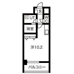 アレーヌコート野並(アレーヌコートノナミ) 6階1Kの間取り