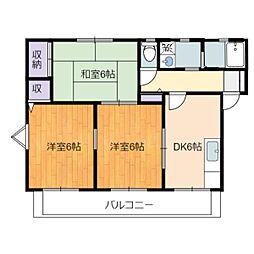 静岡県静岡市駿河区中原の賃貸アパートの間取り
