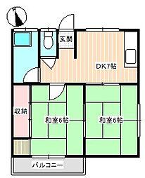 山口県下関市稗田町の賃貸アパートの間取り